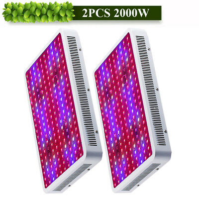 2PCS 2000W LED Grow Light Kits Lamp for Plant Hydroponics Growing Full Spectrum
