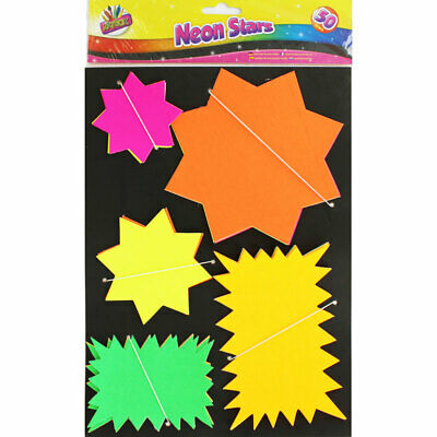 Artbox - Neon Assorted 50 Stars & Flashes Sale Price Labels- Ticket Shops Office