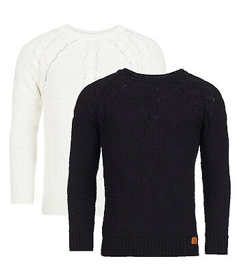 Men's Knitted Top Casual Sweater Crew Neck Pullover Long sleeves Black White