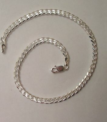 """Sterling Silver 925 Ankle Chain Anklet Bracelet Chain, 4mm Pave Style 10"""" G1091"""