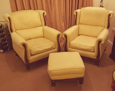 Regency style armchairs and footstool