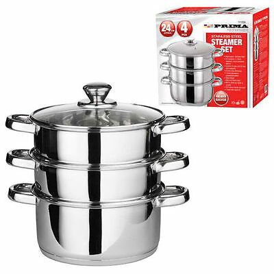 24Cm 4Pc Steamer Cooker Pan Cook Food Pot Set Glass 3 Tier Stainless Steel Lid