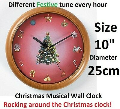 """NEW CHRISTMAS Musical WALL CLOCK FESTIVE XMAS HOME OFFICE DECORATION GIFT 10"""""""