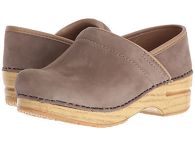 Dansko PROFESSIONAL Womens Milled Nubuck Taupe Slip On Mule Clog Shoes