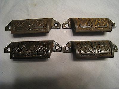 4 Vintage Cast Iron Ornate Flower Drawer Cabinet Desk Furniture Bin Pull Handle