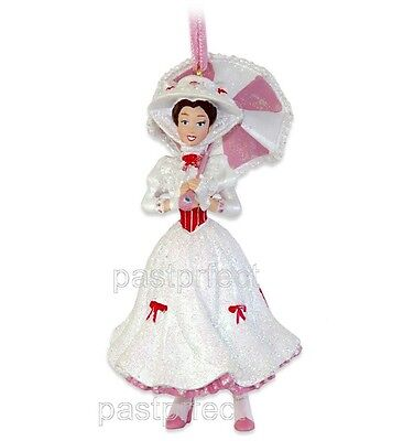 Disney Parks Mary Poppins Xmas Ornament Red White Parasol NWT Boxed 2019
