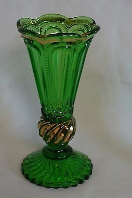 EAPG U.S. Glass 16046 Vase Emerald Green Panels and Swirls