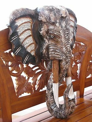 Wooden Elephant Mask 50Cm - Hand Carved And Hand Painted