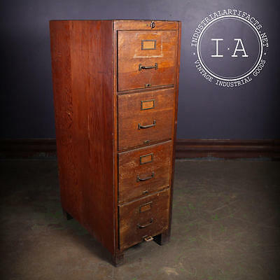 Vintage Industrial Shaw Walker 4 Drawer Wooden File Cabinet
