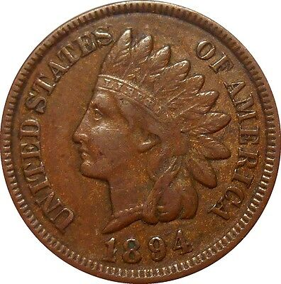 USA 1 One Cent Indian Head Penny 1894 KM#90a (3729)