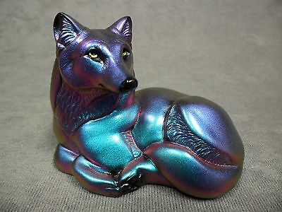 Windstone Editions * Pebble Wolf Green/Purple  * Wildlife Figurine Statue Figure