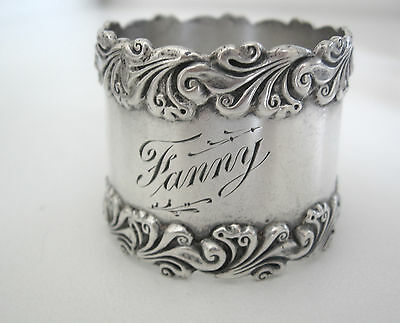 Art nouveau sterling silver napkin ring engraved Fanny. Very heavy applied edges