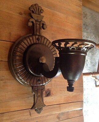 Vintage Wrought Cast Iron Metal And Brass Wall Sconce