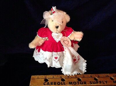 Collectible 1995 Muffy VanderBear Hearts And Flowers Bear W/ Tag Red Shoes Dress