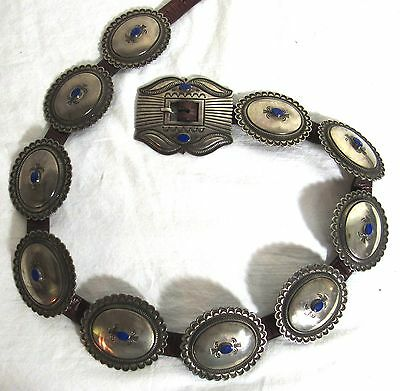 Carmelio Patania Heavy Sterling Lapis Concho Belt Signed Cp Sterling 480 Grams