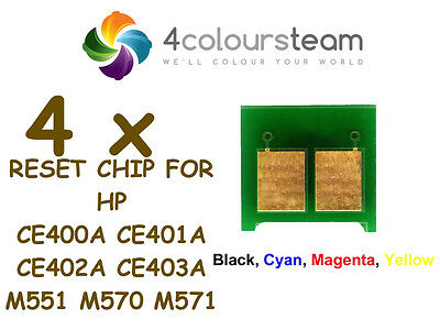4x TONER RESET CHIPS (1set) FOR HP CE400A X CE403A M551 N M570 M571 M575