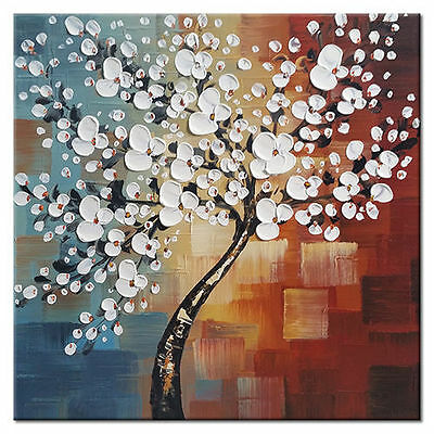 Framed Hand Paint Canvas Oil Painting Home Decor Wall Art Abstract Flower Tree