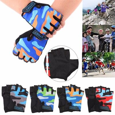 Kids Children Bike Bicycle Cycling Half Finger Fingerless Gloves Skate Mitts