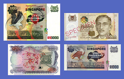 SINGAPORE - Lots of 4 notes - 1000...10000 Dollars - Reproductions