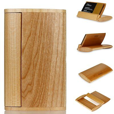 Luxury Wood Wooden Business Card Holder Name Card Flip Case Box Handcraft
