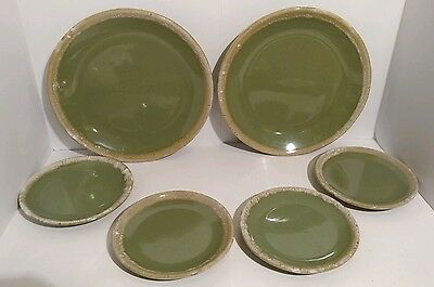 """Hull Pottery Green Drip Dinner Plate Oven Proof USA (4) 7-3/4"""" and (2) 10-1/2"""""""
