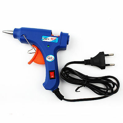 Lightweight 20W Electric Heating Hot Melt Adhesive Glue Gun Using Sticks Blue