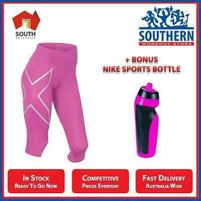 2XU MID RISE 3/4 TIGHTS PINK SILVER + NIKE SPORT WATER BOTTLE FITNESS GYM 591ml