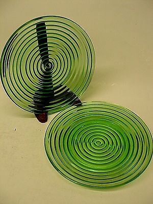 """Vintage Lot Set 2 Rare Green Manhattan Ware Glass Plates Concentric Rings 8.25"""""""