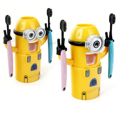 Despicable Me Tooth Brush Holder Minions Auto Toothpaste Squeezer Dispenser Kids