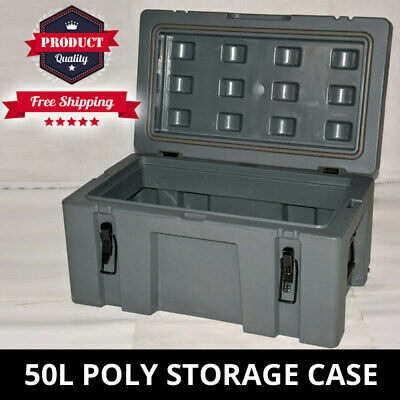 Poly Storage Case 50L Heavy Duty 630mm Poly Cargo Box Plastic Tool Box Trade Box