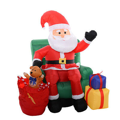 Christmas 5Ft Airblown Inflatable Santa Claus On Sofa Decor Lighted Yard Outdoor