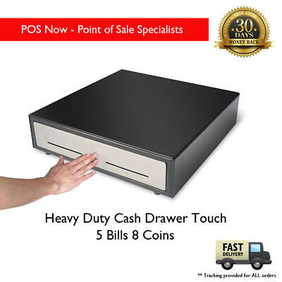 Heavy Duty Cash Drawer TOUCH! Stainless Steel Front W/ Lockable Cover
