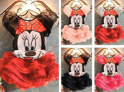 2Pcs Kids Baby Girl Minnie Mouse T-shirt+Skirt Party Tutu Top Clothes Set Outfit