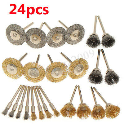 24pcs 2'' 50mm Stainless Steel Brass Wire Brush Wheel Cup For   Rotary Tool