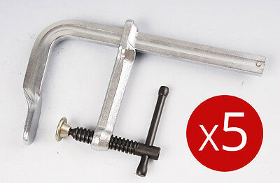 5 Welding Clamps 250mm x 80mm F Clamp Industrial Quality Forged Steel Heavy Duty