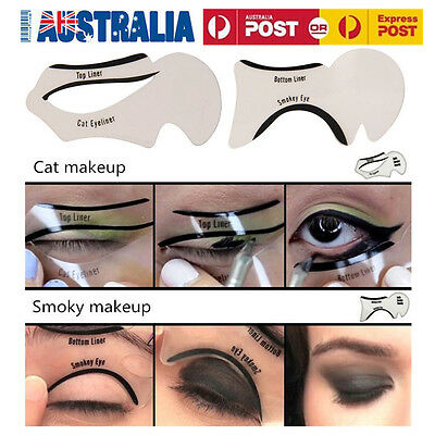 2 Piece Top Bottom Eyeliner Stencil Smokey and Cat Eye Shaping Liner Makeup AU