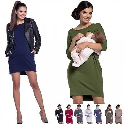 Zeta Ville - Women's Maternity Nursing Sweat Dress Round Neck 3/4 Sleeves - 038c