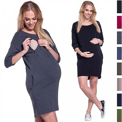 Happy Mama. Women's Maternity Nursing Sweatshirt Dress 3/4 Sleeves Pockets. 038p