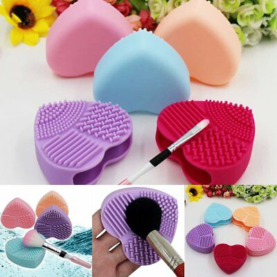 Heart-shaped Silicone Makeup Brush Cleaner Holder Mat Pad Cosmetic Tool Clean 1x