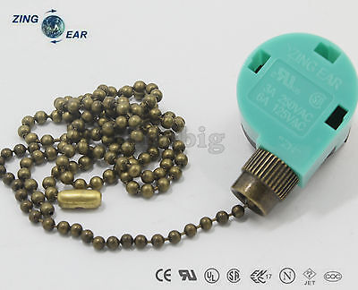 Zing Ear ZE-268S6 & ZE-208S6 Pull Chain Switch With 2 Ft Antique Brass Chain