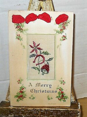 1920's Merry Christmas Silk Material Middle Postcard~Red Lace~Cut Out