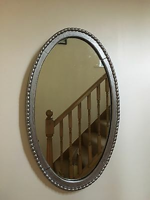Vintage Shabby Chic Oval Antique Oak Silver Mirror