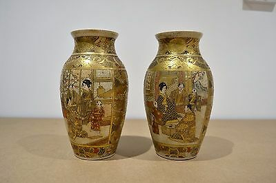 """Pair Of Matching Antique Vintage Japanese Satsuma Vases 7 """" high Signed"""