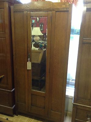 Wardrobe 1940's Oak Mirror Door Small Single Wardrobe