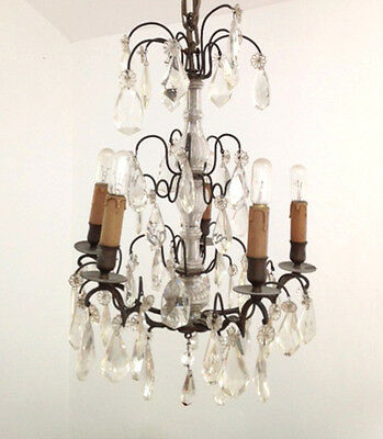 Beautiful Antique French 4 Branch Crystal Chandelier