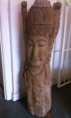 Beautiful LARGE & HEAVY  Wooden Buddha Statue Carved From A Tree Trunk