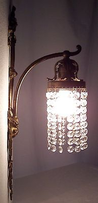 Vtg Cast Brass Sconce French Rococo Waterfall Ribbon Light Wisconsin USA #W93