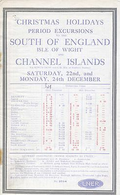 LNER 1928 Christmas Holiday Excursions to South of England and Channel Islands