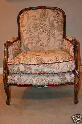 Antique style French Armchair newly reupholstered in beautiful paisley material