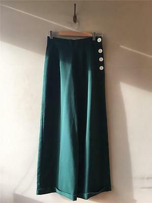 Vintage 1930s/40/50s Style Heyday Forest Green Swing Trousers High- Waisted UK10